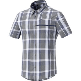Shimano Transit Short Sleeve Check Button Up Shirt Men Navy Blazer